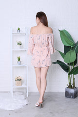 JOCASTA FLORAL ROMPER IN DUSTY PINK