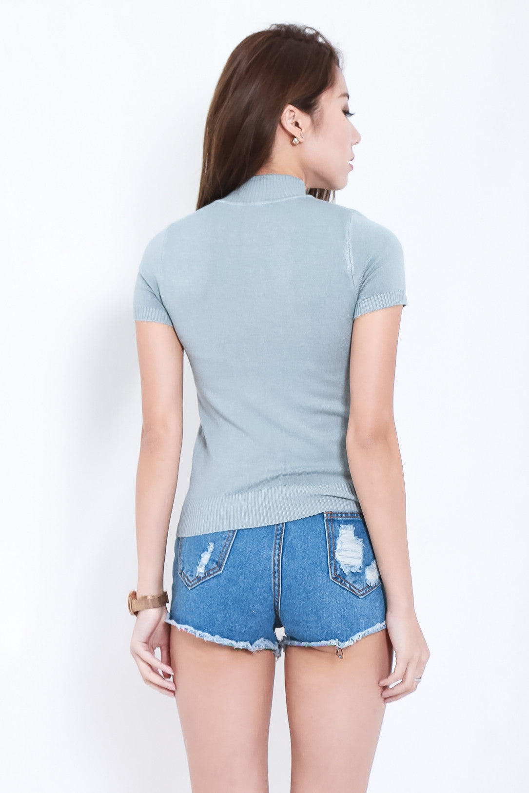 CHILL OUT HIGH NECK KNIT TOP IN GREY - TOPAZETTE