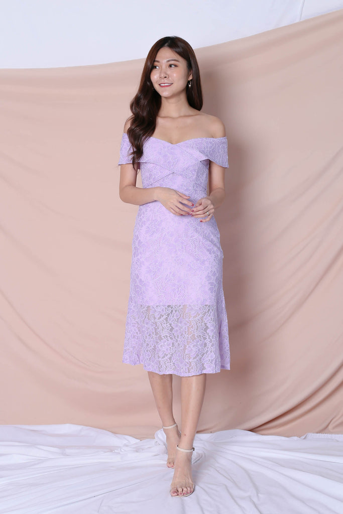 *TPZ* (PREMIUM) URSHA LACE OFF SHOULDER DRESS IN LAVENDER - TOPAZETTE