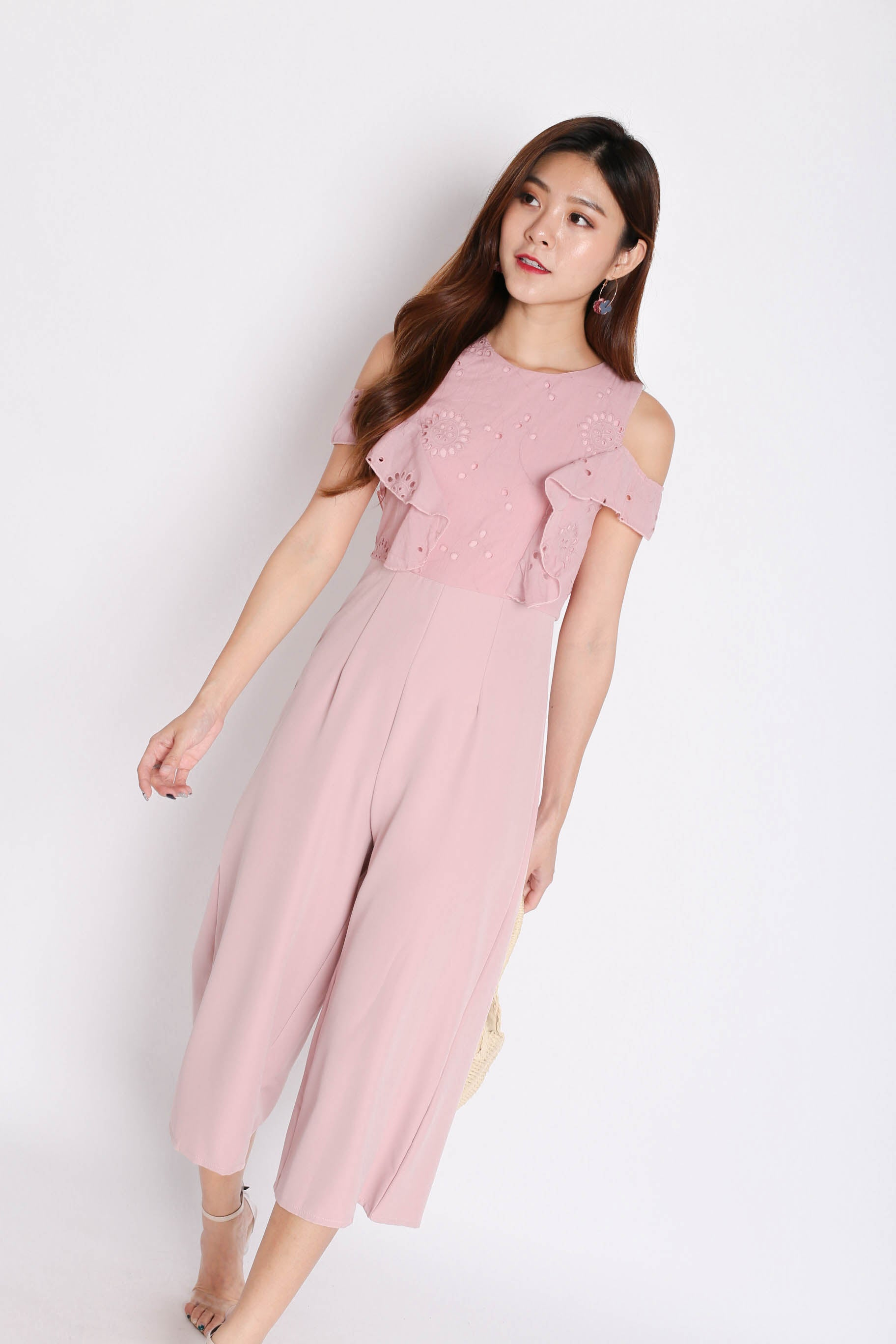 *TPZ* (PREMIUM) LYLA EYELET CULOTTES JUMPSUIT IN DUSTY PINK