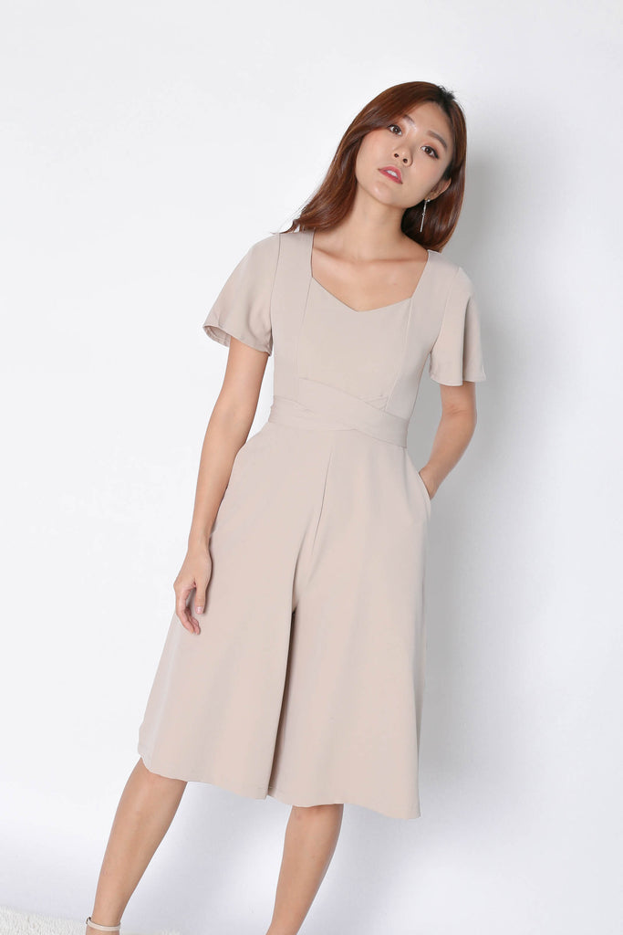 *TPZ* (PREMIUM) FABIA SWEETHEART CULOTTES JUMPSUIT IN SAND