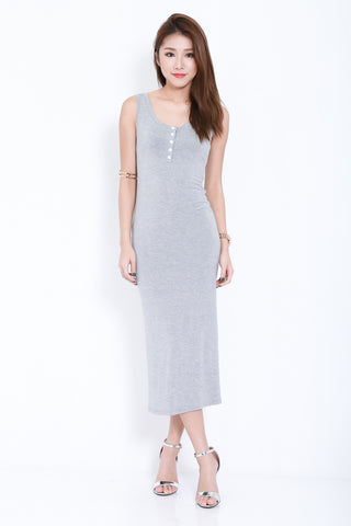 *RESTOCKED* FYN BUTTONED MAXI IN LIGHT GREY