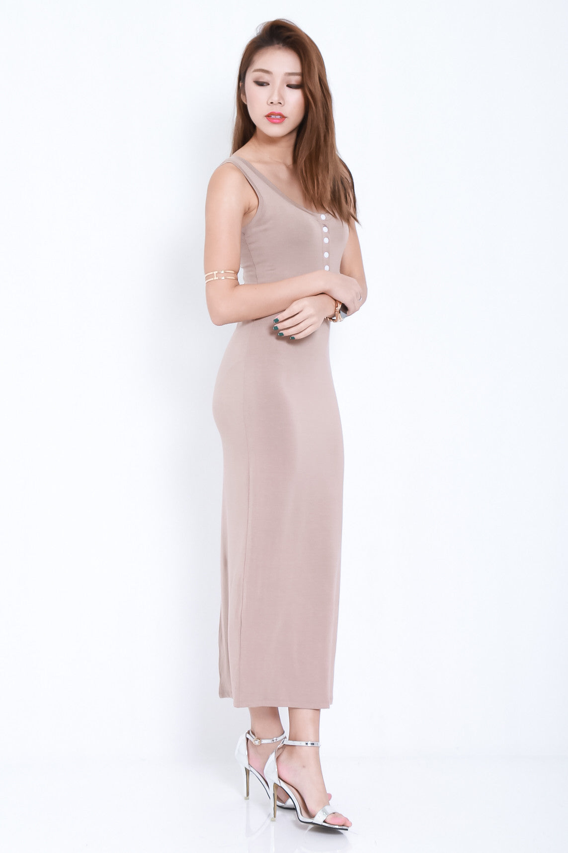 *RESTOCKED* FYN BUTTONED MAXI IN TAUPE - TOPAZETTE