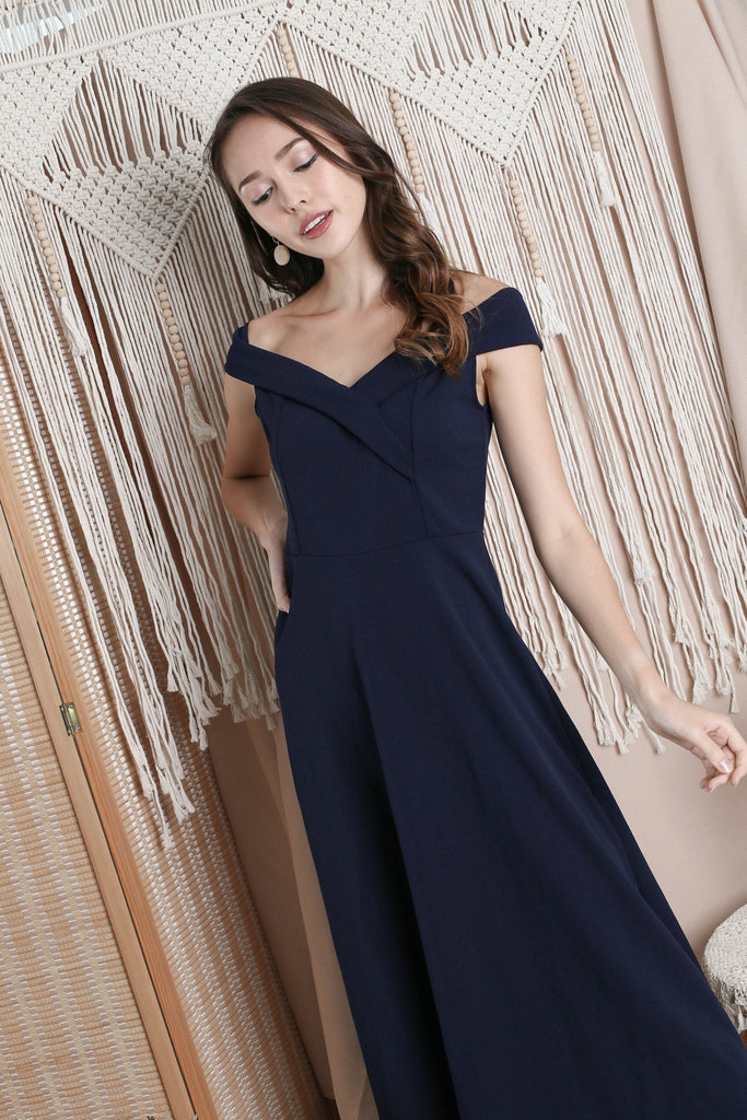 RAYLA OFF SHOULDER MAXI IN NAVY