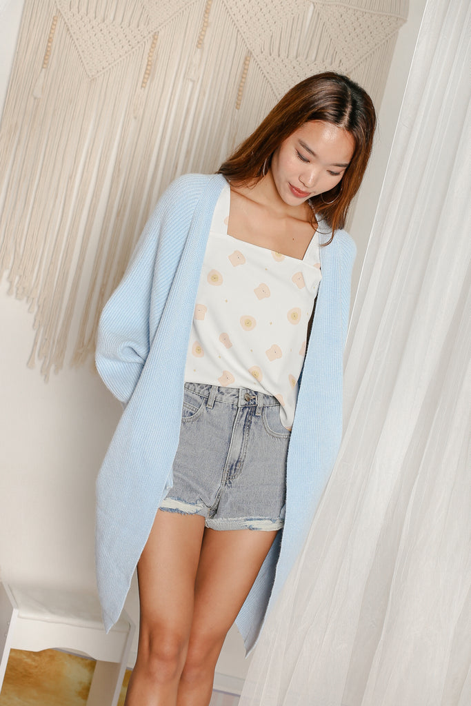 *BACKORDER* BEA COSY SOFT KNIT CARDIGAN IN SKY BLUE