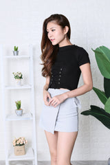 JUNCE SLEEVED LACE KNIT TOP IN BLACK