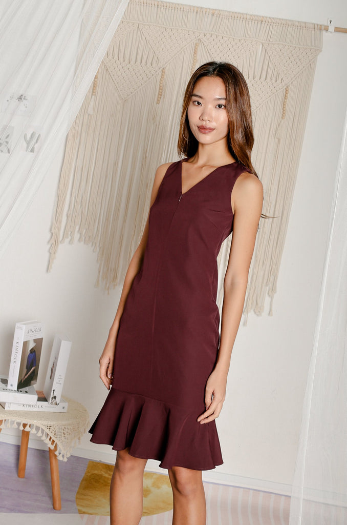 *TPZ* JOSETTE MERMAID DRESS IN BURGUNDY
