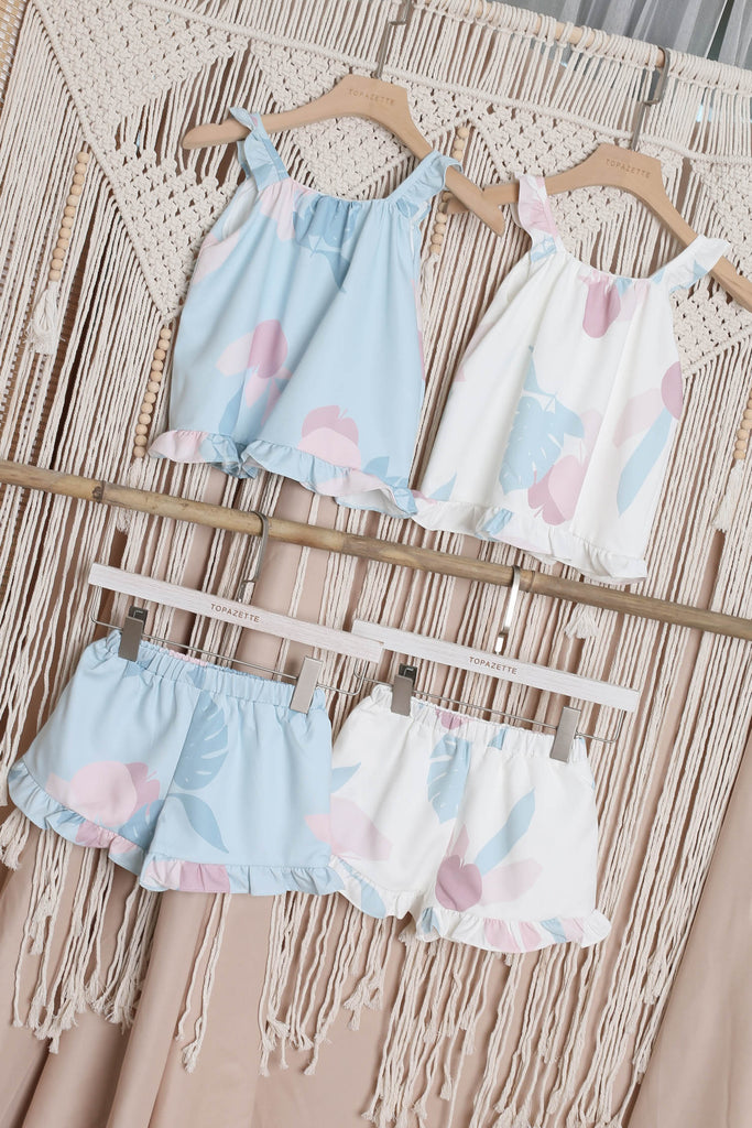 *LITTLE TOPAZETTE* PASTEL DREAMS 2 PC GIRLS SET IN WHITE