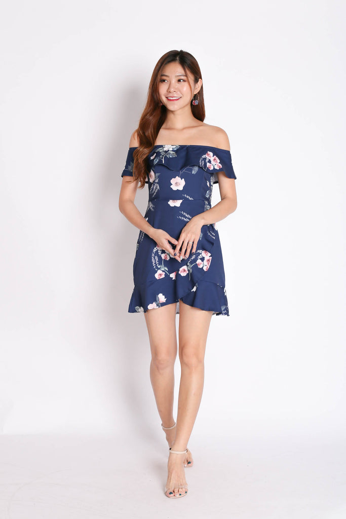 *TPZ* (PREMIUM) KENDRA RUFFLED DRESS ROMPER IN NAVY FLORALS
