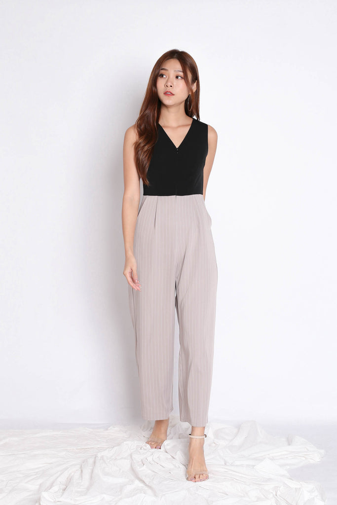 *TPZ* (PREMIUM) YOU GOT IT JUMPSUIT IN BLACK/ TAUPE
