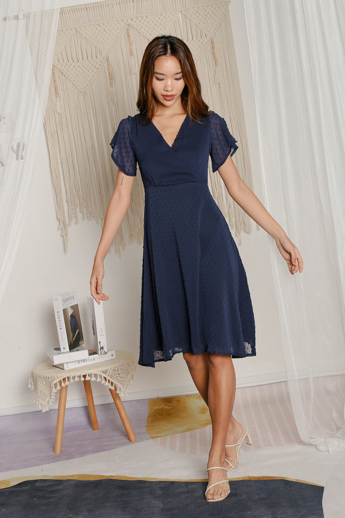 *TPZ* SONIA SWISS DOT DRESS IN NAVY
