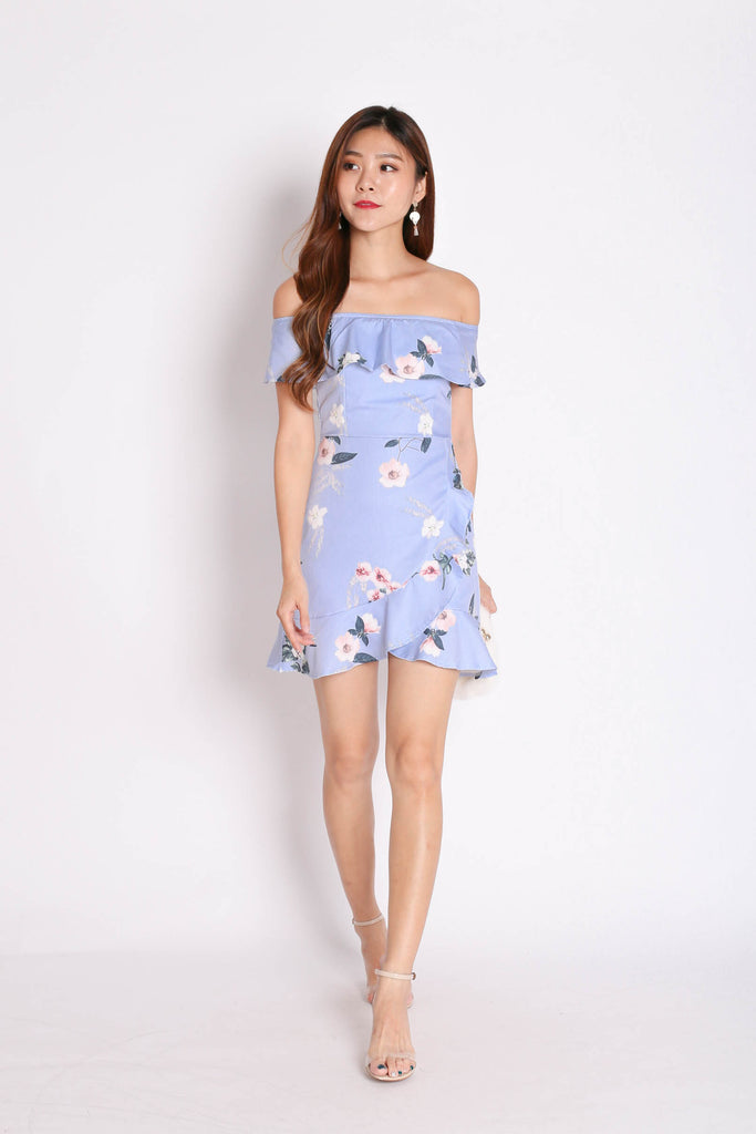 *TPZ* (PREMIUM) KENDRA RUFFLED DRESS ROMPER IN PERIWINKLE FLORALS