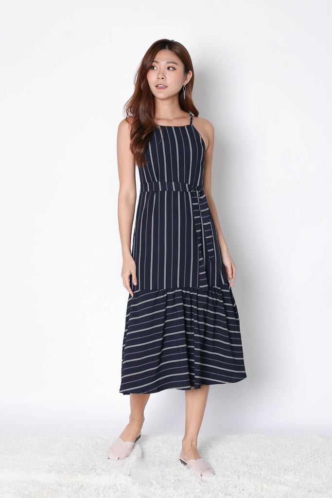 *TPZ* (PREMIUM) XAMI STRIPES DROP WAIST DRESS IN NAVY