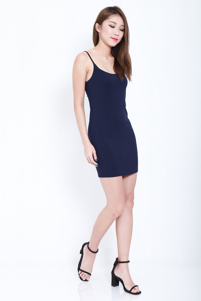 (RESTOCKED) WYNN LACED SPAG DRESS IN NAVY - TOPAZETTE