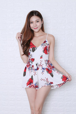 MAYCE FLORAL ROMPER IN OFF WHITE
