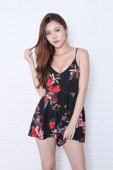 MAYCE FLORAL ROMPER IN BLACK
