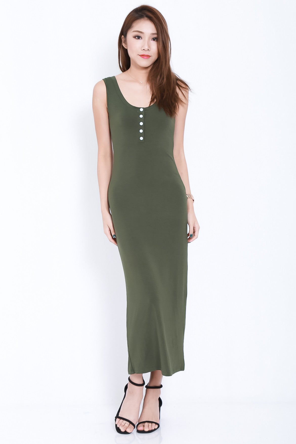 (BACKORDER) FYN BUTTONED MAXI IN OLIVE - TOPAZETTE