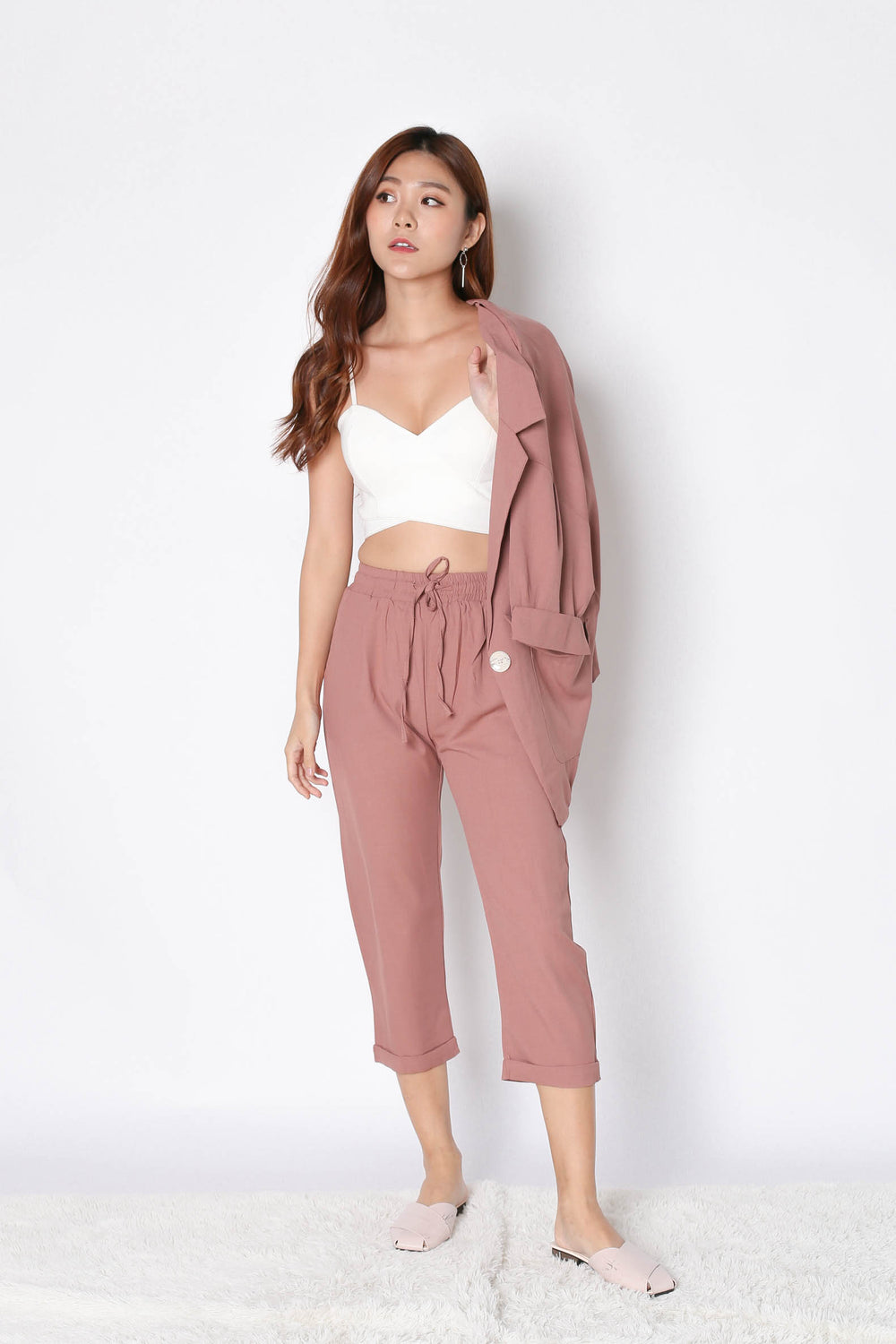 AXEL 2 PC BLAZER AND PANTS SET IN DUSTY PINK