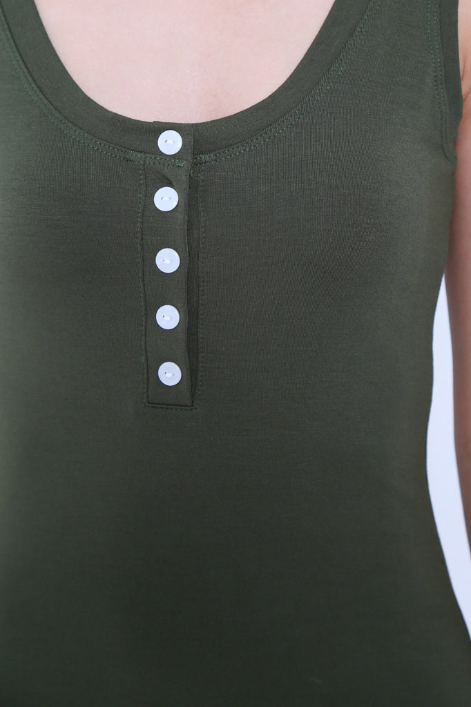 FYN BUTTONED MAXI IN OLIVE - TOPAZETTE