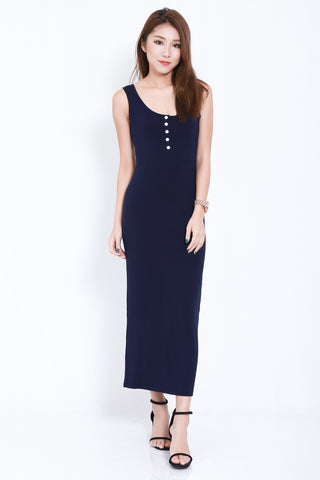 (BACKORDER) FYN BUTTONED MAXI IN NAVY - TOPAZETTE