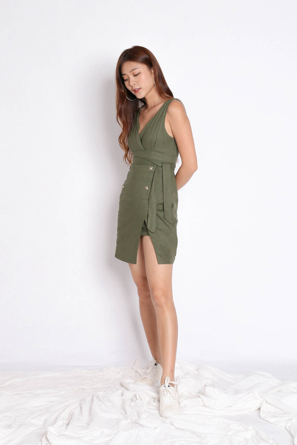 *TPZ* (PREMIUM) RAE LINEN DRESS IN ARMY GREEN