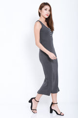 *BACKORDER* FYN BUTTONED MAXI IN DARK GREY - TOPAZETTE