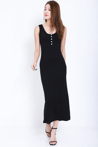 *RESTOCKED* FYN BUTTONED MAXI IN BLACK - TOPAZETTE