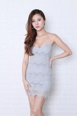 JOELLE LACE BODYCON DRESS IN GREY