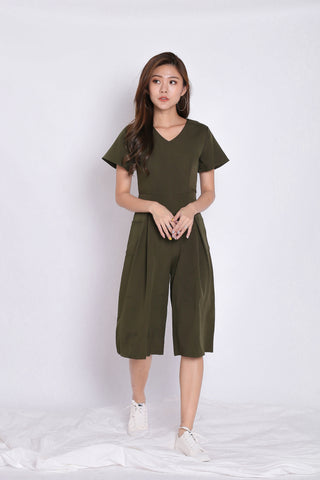 *TPZ* (PREMIUM) MIFFY POCKET CULOTTES JUMPSUIT IN OLIVE