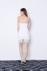JOELLE LACE BODYCON DRESS IN WHITE