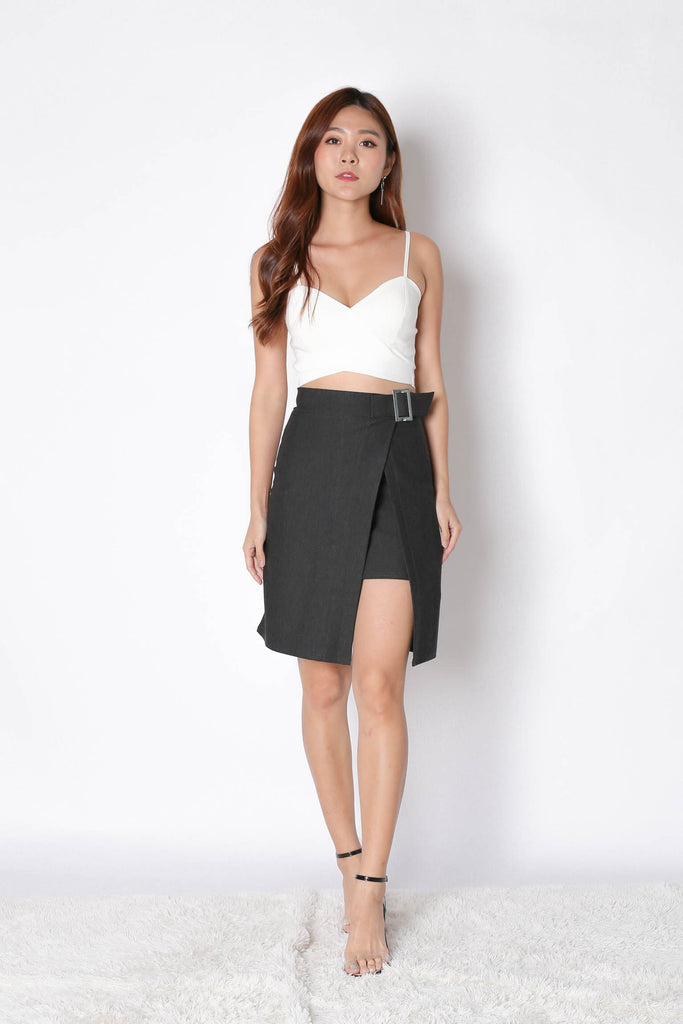 RYNE BODYCON SKIRT IN DARK GREY - TOPAZETTE