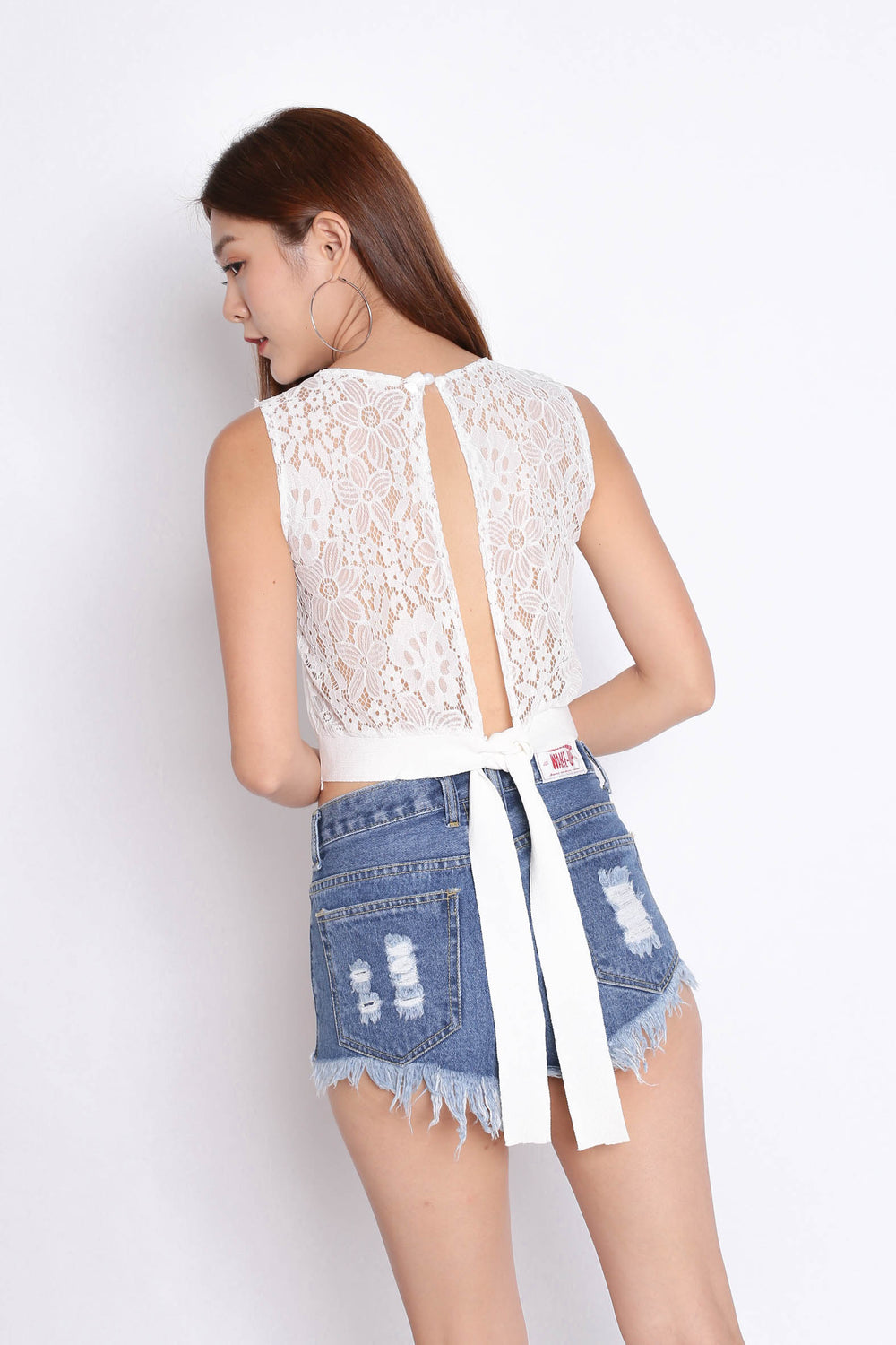 XANDRIA OPEN BACK LACE KNIT TOP IN WHITE