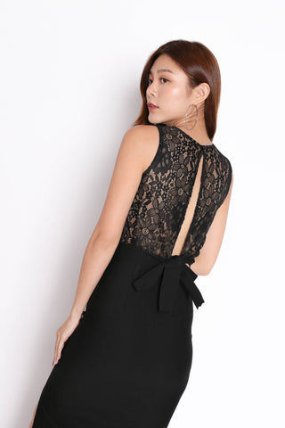 XANDRIA OPEN BACK LACE KNIT TOP IN BLACK