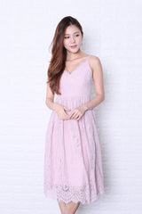 *TOPAZ* (PREMIUM) QUELLA LACE DRESS IN DUSTY PINK