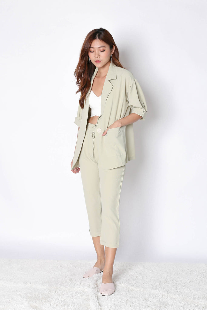 AXEL 2 PC BLAZER AND PANTS SET IN SAGE GREEN