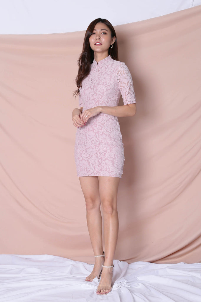 *TPZ* (PREMIUM) EN CI SLEEVED CHEONGSAM DRESS IN DUSTY PINK - TOPAZETTE