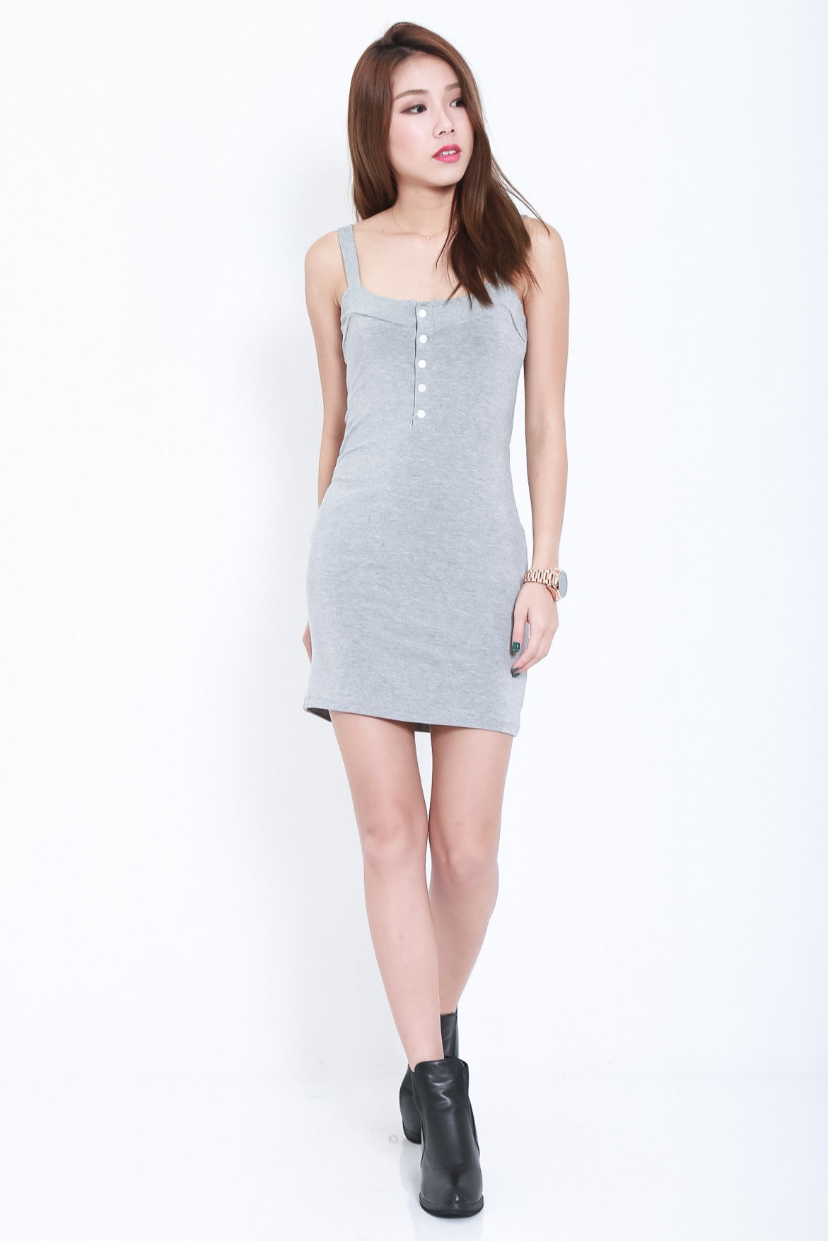 4ab8f6ff69 (RESTOCKED) FRANS BUTTON COTTON DRESS IN LIGHT GREY - TOPAZETTE