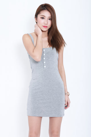 cbca527addb5 (RESTOCKED) FRANS BUTTON COTTON DRESS IN LIGHT GREY - TOPAZETTE