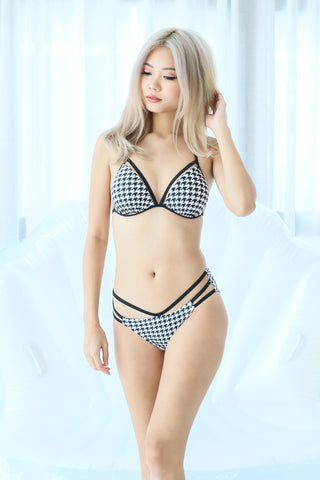 BOARDWALK STRAPPY BIKINI SET (HOUNDSTOOTH)