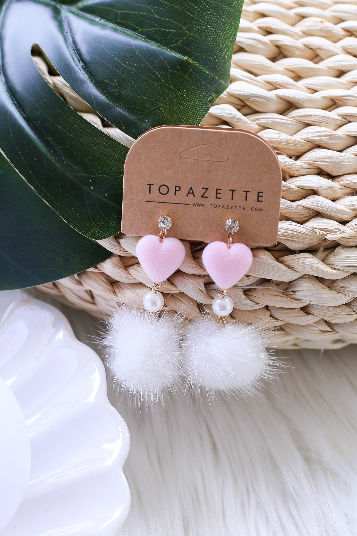 PINK HEARTS FUR EARRINGS