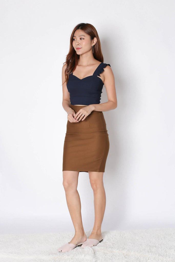 CLASSIC BODYCON SKIRT IN CAMEL - TOPAZETTE