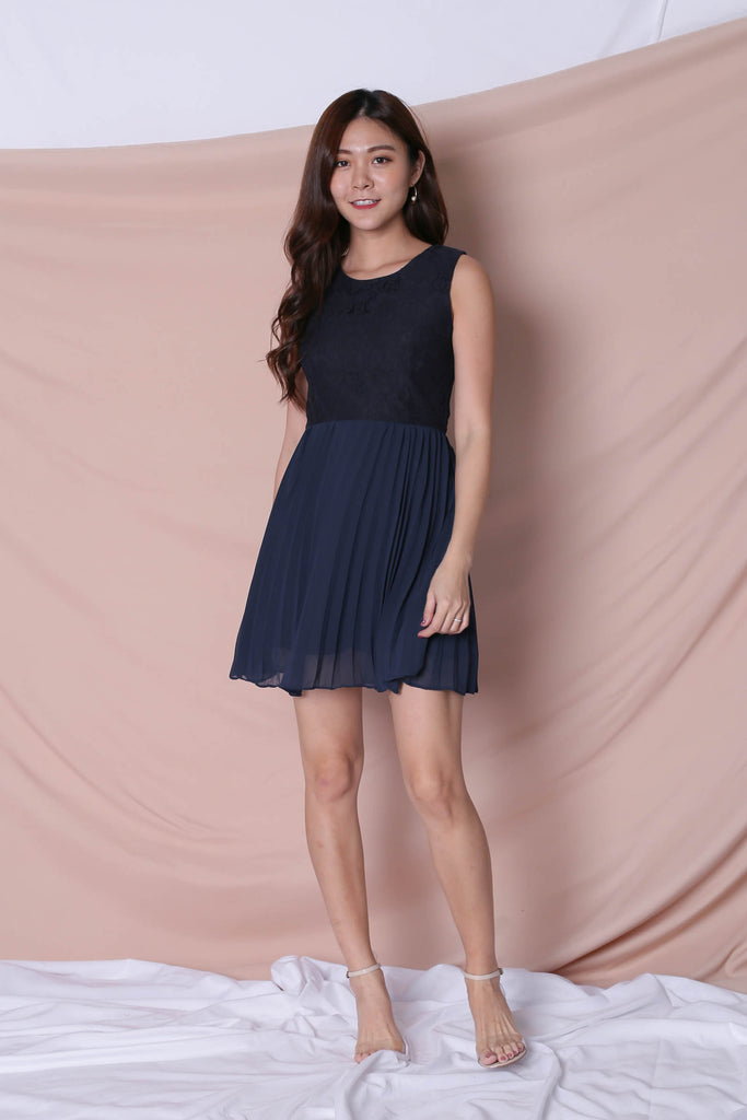 *TPZ* (PREMIUM) HYLLIS LACE PLEATED DRESS IN NAVY - TOPAZETTE