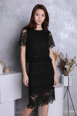 EVIE SLEEVED LACE TOP IN BLACK
