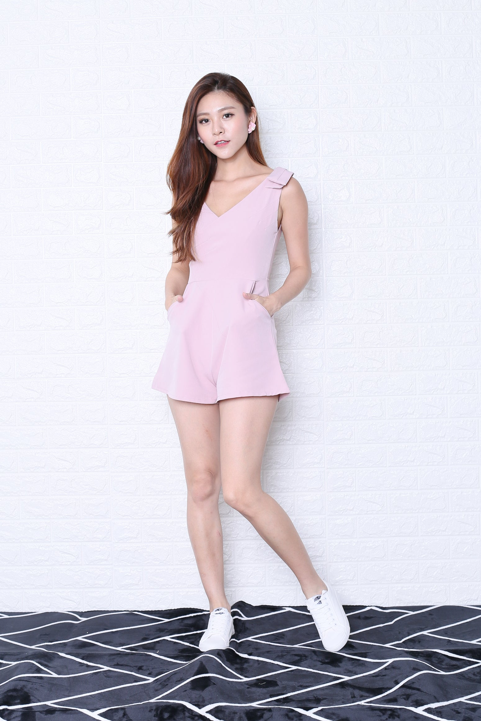 *TOPAZ* (PREMIUM) VAUGHAN ROMPER IN DUSTY PINK