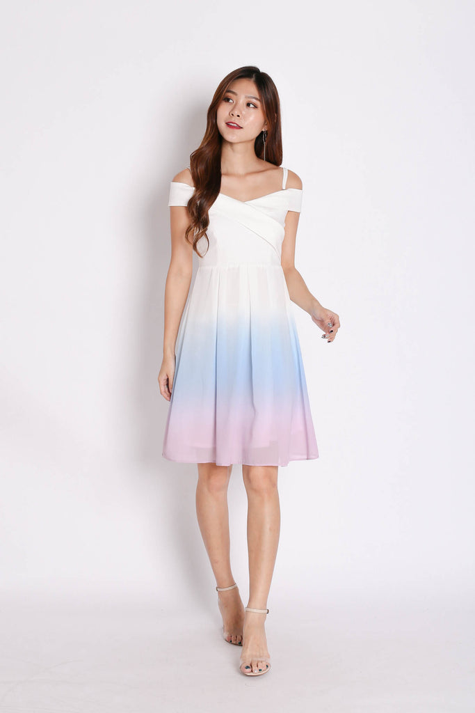 (PREMIUM) BELLA OMBRE SKATER DRESS (PASTEL) - TOPAZETTE
