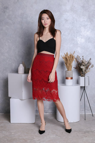 ETTA LACE MIDI SKIRT IN CRIMSON