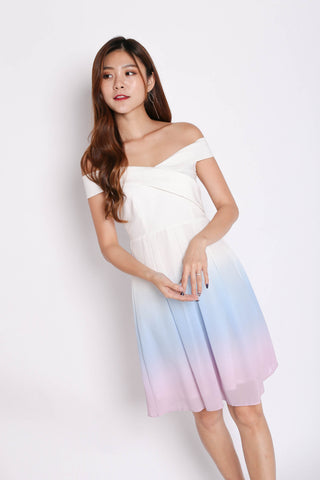 (PREMIUM) BELLA OMBRE SKATER DRESS (PASTEL)