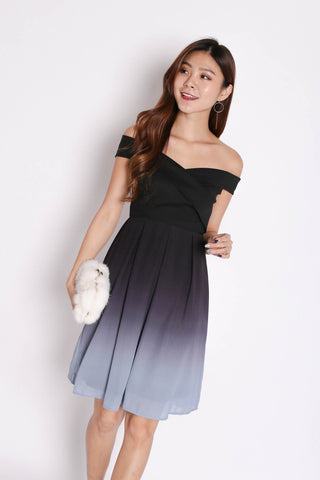 (PREMIUM) BELLA OMBRE SKATER DRESS (BLACK/ GREY)