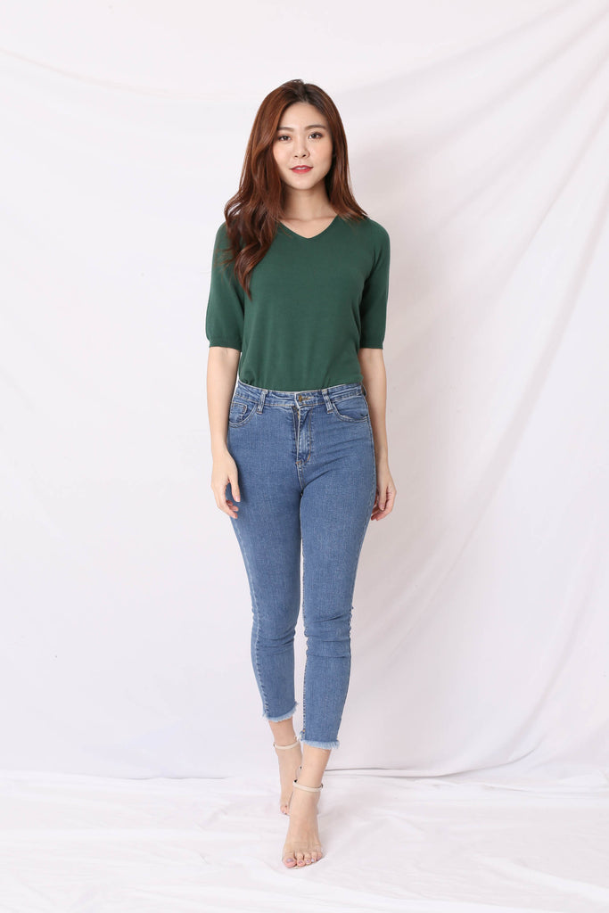 BRANX BASIC KNIT TOP IN FOREST GREEN