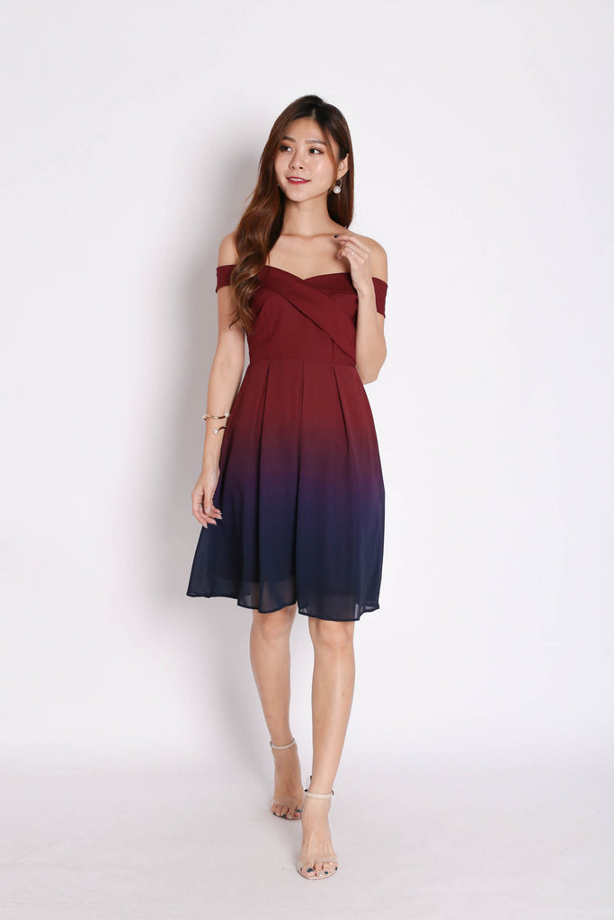 (PREMIUM) BELLA OMBRE SKATER DRESS (BURGUNDY/ NAVY) - TOPAZETTE